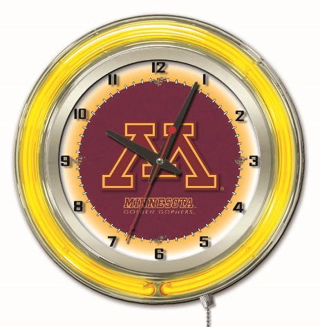 "19"" neon clock with team logo"