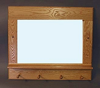 Horizontal oak mirror with pegs